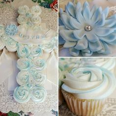 Cupcake cross for a baby boy baptism.  Made with edible lace and a baby blue fondant flower.  Baked Bliss, Williston ND