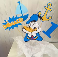 5 Piece Donald Duck Centerpiece, Donald Birthday, Party Decor, Donald Decorations, Cake Topper, Centerpiece, Mickey Clubhouse by LuluBellaCreations on Etsy