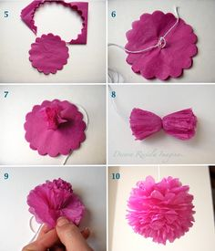 small pom pom tutorial using a scalloped punch - i think, it's in spanish!