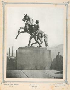 "Anichkin most (fig. 4-ia) rabota barona klodta.  [Sculpture of ""Taming the Horses"" on Anichkov Bridge, worked ...] (1895?)"