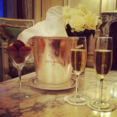 Champagne at Hotel LeMeurice, Paris.