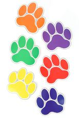 Renewing Minds, Paw Prints Large Cutouts, Assorted Colors, 6 Inches, 36 Pieces