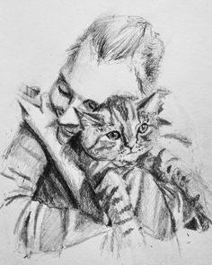 Girlfriend hugging her cat drawing pencil black and white