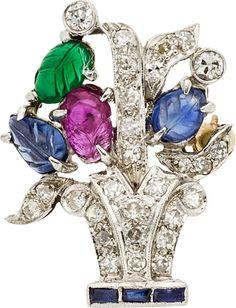 Estate Jewelry:Brooches - Pins, Diamond, Multi-Stone, Platinum, Gold Brooch