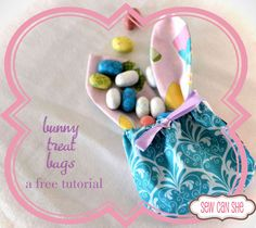 bunny treat bags - a free tutorial from Sew Can She | Free Daily Sewing Tutorials