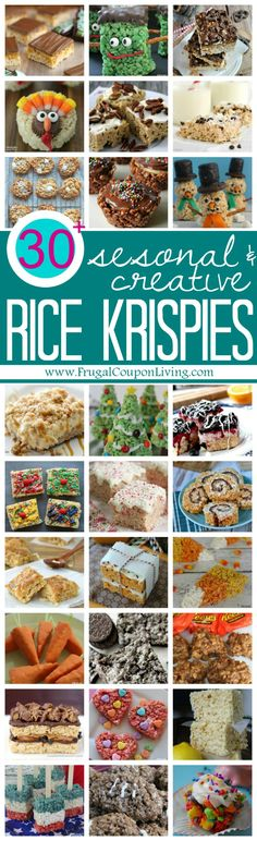 Rice Krispie Treats for every season, occasion and taste! Round-Up of recipes on Frugal Coupon Living.
