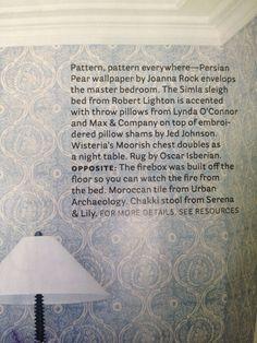 House Beautiful Magazine ; Persian Pear Wallpaper by Joanna Rock. Wall Finishes, House Beautiful
