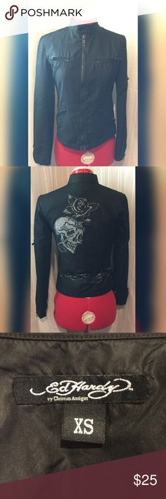 Ed Hardy Cropped Jacket Great jacket! Size XS, great detail in back! Best measurements bust 15, length 19, sleeves 22 long. EUC Ed Hardy Jackets & Coats