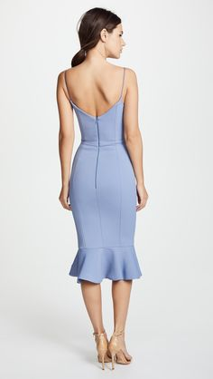 Kollette - Nicholas Bandage Frill Wrap Dress - The world's largest fashion stores in one place! Party Dresses For Women, Sexy Dresses, Evening Dresses, Long Dresses, Casual Cocktail Dress, Light Blue Cocktail Dress, V Neck Wedding Dress, Light Blue Dresses, Tie Front Dress