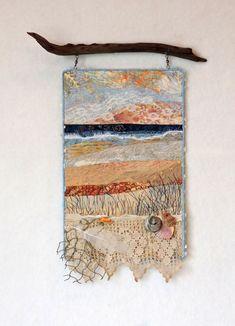 Art Quilt by Eileen Williams. Ocean Quilt, Beach Quilt, Fiber Art Quilts, Landscape Art Quilts, Colorful Quilts, Fabric Pictures, Wool Art, Sewing Art, Textile Artists