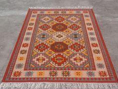 Hand Woven Wool Rug Turkish Kilim Dhurrie Persian Oriental Area Rug 7'X10' ft  #Handmade #TraditionalPersianOriental