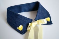 Jeans Peter Pan Collar / Yellow by ElleenAccessories on Etsy