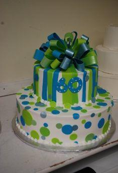 birthday cake 60, blue, green, Tamara's Cakes, Oshkosh, Wisconsin