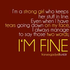 There something to say about being stubborn.  I will always be fine!!