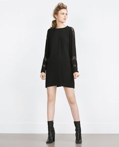 Image 1 of STRAIGHT CUT CONTRAST LACE DRESS from Zara