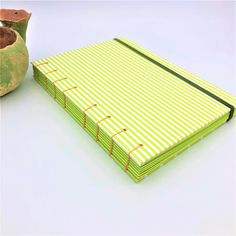 Dots and Stripes Green - A5 Notebook - Coptic Stitched £21.99