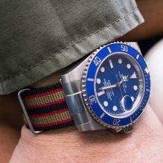 """Coming soon: The new """"Revenge End Link"""" Nato Collection. Demo on Rolex submariner 18k White Gold Ceramic Blue Dial Smurf 116619 #rolexsubmariner #rolexsmurf #rolex116619 #strapcode #natostrap #wristshot #watchofinstagram #watchnerd #watcholic #watchpics #watchporn #watchlover #watchaddict #watchoftheday #WOMW #strapaddict #wus #watchcollector #dapperwatch #wruw #dailywatch #wornandwound #watchshot #timepiece #wristshot #wis"""