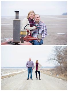Country, winter engagement session with a tractor and gravel road. Iowa Wedding Photography | CTW Photography