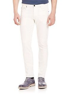 Pal Zileri Solid Slim Fit Jeans - White - Size