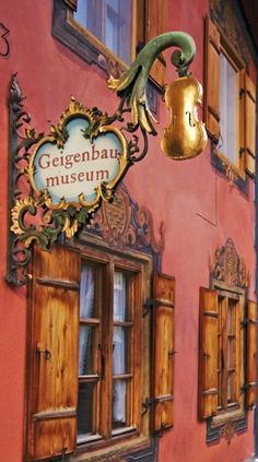 The Golden Violin Museum Mittenwald, Bavaria, Germany. Storefront Signs, Pub Signs, Shop Fronts, Bavaria Germany, Business Signs, Store Signs, Advertising Signs, Hanging Signs, Boutiques