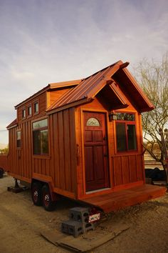 This is a craftsman-style tiny house on wheels built by Aaron Dennis. He built it using a slightly modified version of Dan Louche's tiny house plans. This tiny house is built on a 22 1/2 ft. …
