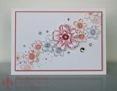 Stampin' Up! Flower Shop & Petite Petals in Pastel: Strawberry Slush, Wisteria Wonder, Crisp Cantalope, Blushing Bride.