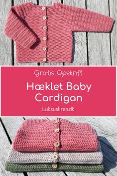 Gratis hækleopskrift på hæklet baby cardigan, nem hækleopskrift i 3 størrelser.