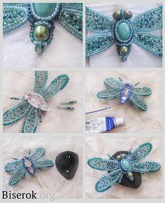 Блакитна брошка метелик схема