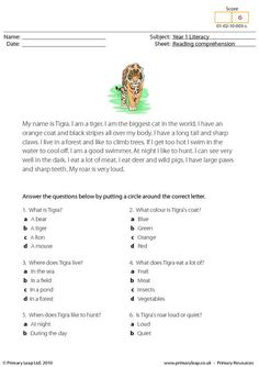 Students read the text about a tiger and answer the multiple choice questions.