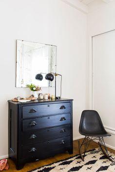 @debkillworth - Gram's dresser painted black.