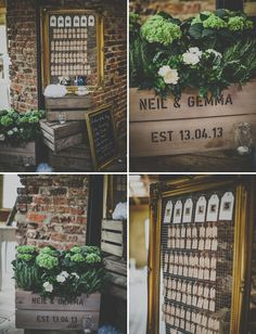 well designed table cards + custom crates with the happy couple's names on them