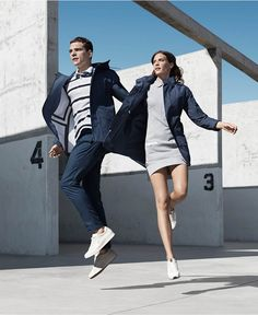Grey dress for her, navy blue pants for him. Spring is just around the corner.