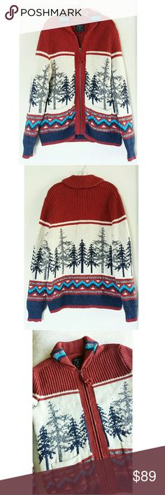 American Eagle Outfitters Quality Scenic Sweater New without tags, NWOT. Hard to find American Eagle Outfitters Zip Up Sweater. Size Medium. Tribal, Aztec, Boho, Outdoorsy, Scenic design. This sweater is very well made and in excellent condition! Has a striking, eye-catching design. It's colors allow for versatile styling options. Layer over tanks, t shirts, long sleeve shirts or dress shirts. Wear with jeans, shorts, khakis...lots of options!  It's a mens shirt but could also be worn by a…