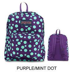 JanSport Backpack Multi Tone SUPERBREAK, SUPER FX, California Bear Various Style! Bag_Style: PURPLE MINT DOT
