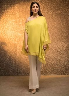 Show details for Electric lime poncho Pakistani Fashion Casual, Pakistani Dresses Casual, Indian Fashion Dresses, Dress Indian Style, Pakistani Dress Design, Indian Designer Outfits, Fashion Outfits, Indian Outfits, Stylish Dress Designs