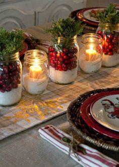 50 Most Beautiful Christmas Table Decorations – I love Pink - Christmas Decorations🎄 Christmas Mason Jars, Noel Christmas, Mason Jar Diy, Country Christmas, Christmas Crafts, Christmas 2019, Christmas Candles, Green Christmas, Cheap Christmas