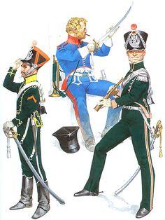 """• Trooper, 6th Chasseurs, service dress, 1813-14 • Trumpeter, 12th Chasseurs, campaign dress, 1812 • Subaltern, 8th Chasseurs, regulation full dress, 1813-14"", Angus McBride"