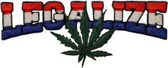 """Amazon.com: [Single Count] Custom and Unique (5"""" x 2"""" Inches) Legalize Weed Pot Leaf Logo Iron On Embroidered Applique Patch {Red, White, Blue & Green Colors}"""