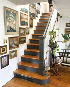 How to Decorate with Nautical Artwork Stairway Gallery Wall, Stair Gallery, Gallery Walls, Victorian Stairs, Victorian Homes, Ohio House, Maine House, Staircase Wall Decor, Hallway Art