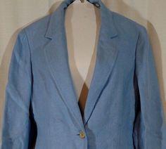TALBOTS Blazer Jacket 100% LINEN Light Blue Women Petite Size 10P Lined #Talbots #Blazer #Linen