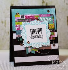 Betty Wright: Crafting with Betty: Diva Inspirations Challenge and Blog Hop! - 3/5/15.  (Verve: On Occasion stamps/ Occasin Frame die; Chevron Love stamp, Banner Bundle dies).  (Pin#1: Birthday... Pin+: Layering).