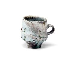 Perry Haas, Footed Mug, Wood fired Porcelain, 4x3x3