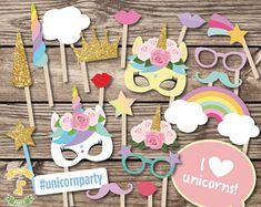 Unicorn Photo Booth Props Printable Unicorn Party Printables Magical unicorn Photo props party printables. Unicorn mask. Unicorn birthday