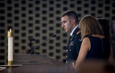 U.S. Army 1st Lt. Matthew Greene delivers a eulogy for his father, U.S. Army Maj. Gen. Harold J. Greene, during a military funeral in his honor at Joint Base Myer-Henderson Hall's Memorial Chapel in Arlington, Va., Aug. 14, 2014. Greene is the highest-ranking service member killed in the wars in Iraq and Afghanistan.  (U.S. Army photo by Staff Sgt. Bernardo Fuller)