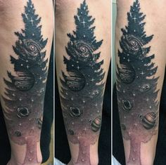 Tree Extending Into Cosmos Tattoo On Forearms For Men