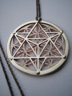 Star Tetrahedron and Flower of Life Pendant - sterling silver and copper