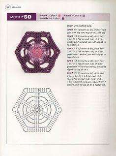 """"""" MOSSITA BELLA PATRONES Y GRÁFICOS CROCHET """": Hexagons Beyond the Square Crochet Motif #47-55"""