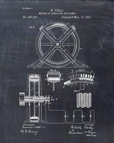 Imprimir patentes - Tesla método de funcionamiento de lámparas de arco - arte de la pared de Tesla - Tesla Print - patentes de Tesla - Tesla Poster