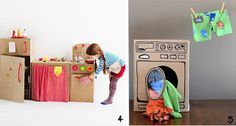 Never throw away the cardboard boxes! Ideas for encoraging creativity with a cardboard box. Fun Crafts For Kids, Easy Diy Crafts, Crafts To Do, Diy For Kids, Custom Cardboard Boxes, Kids Boxing, Imaginative Play, Creative Kids, Kids Playing