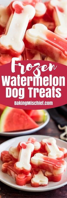 Make a big batch of these two-ingredient Watermelon and Yogurt Frozen Dog Treats to keep your pup cool this summer! Puppy Treats, Diy Dog Treats, Homemade Dog Treats, Dog Treat Recipes, Healthy Dog Treats, Dog Food Recipes, Food Dog, Puppy Food, Frozen Dog Treats